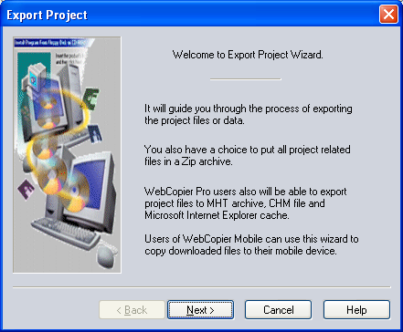 Export Project wizard
